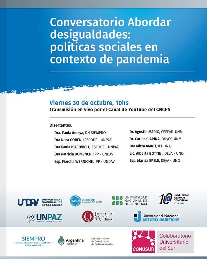"""Conversatorio """"Abordar desigualdades: políticas sociales en contexto de pandemia"""""""